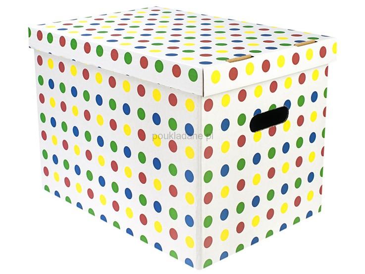 poukladane.pl pudełko w kolorowe grochy