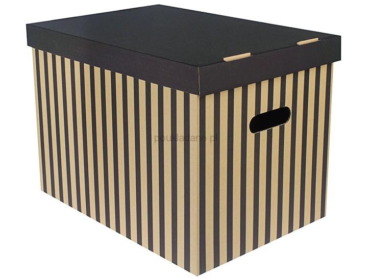 poukladane.pl pudełko w paski czarno-brązowe