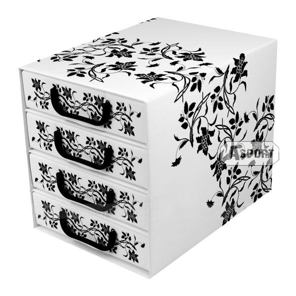 Asport.pl Pudełko z czterema szufladkami, białe z czarnym wzorkiem