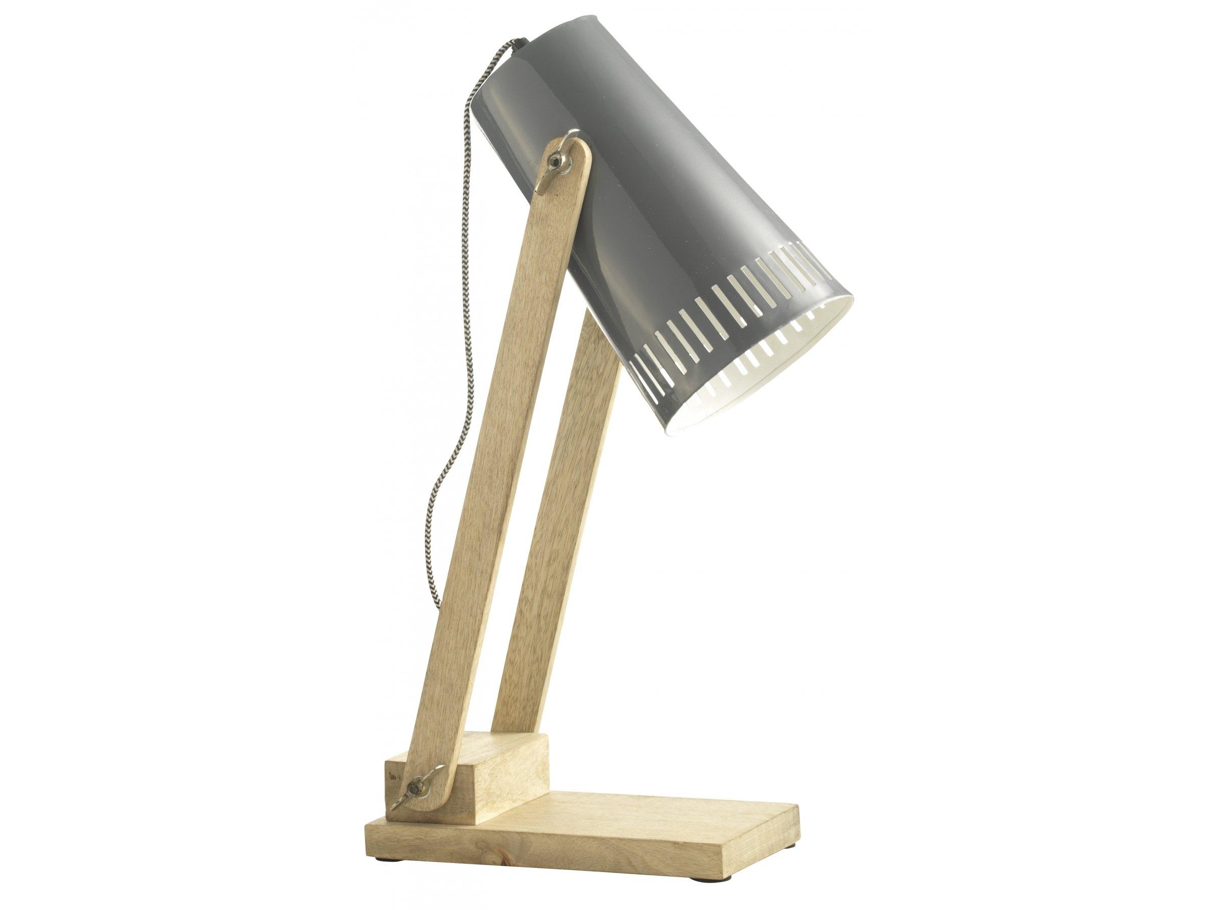 Scandi Concept Lampka na biurko, naturalne drewno połączone z szarością