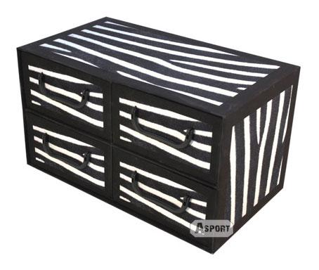 Asport.pl Pudełko z czterem szufladkami poziomymi, wzór zebra