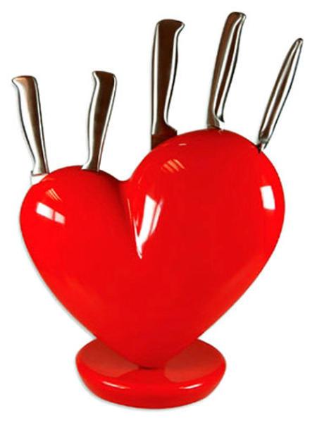 e-prezent Stojak na noże w kształcie serca